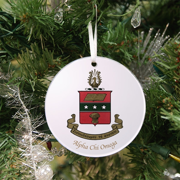 Alpha Chi Omega Holiday Ornament - Crest