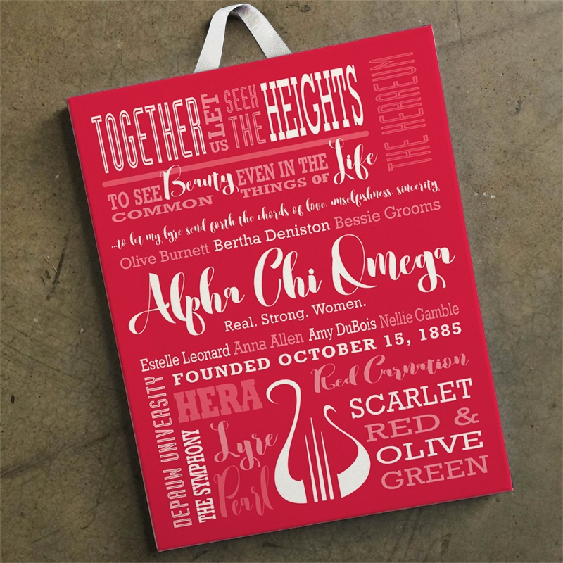 Alpha Chi Omega Facts Canvas Red